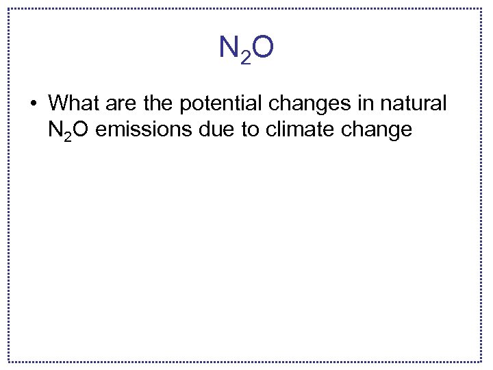 N 2 O • What are the potential changes in natural N 2 O