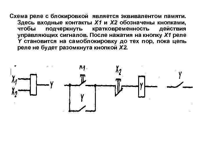 Схема реле с блокировкой является эквивалентом памяти. Здесь входные контакты Х 1 и Х