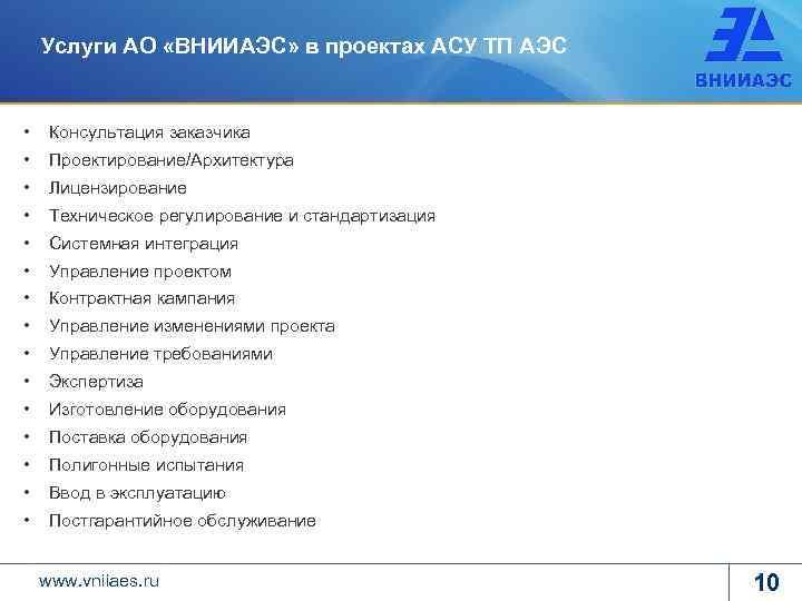 Услуги АО «ВНИИАЭС» в проектах АСУ ТП АЭС • Консультация заказчика • Проектирование/Архитектура •