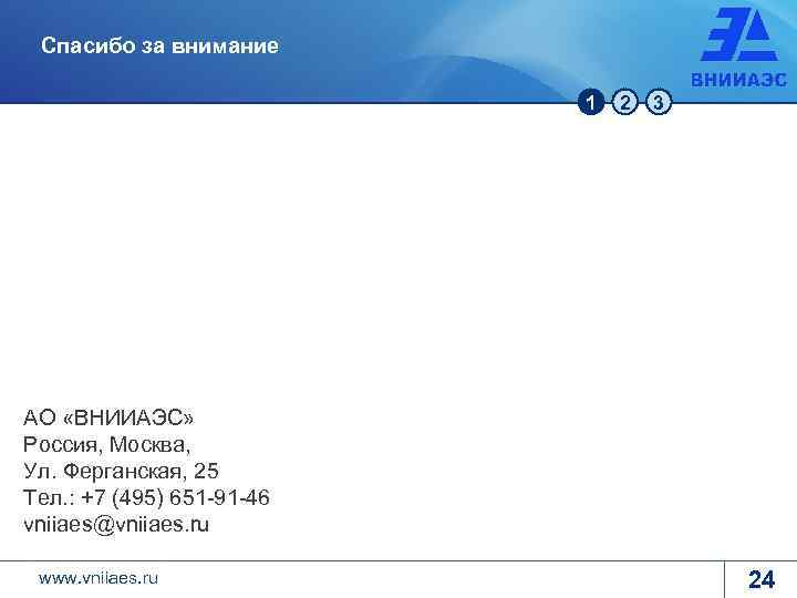 Спасибо за внимание 1 2 3 АО «ВНИИАЭС» Россия, Москва, Ул. Ферганская, 25 Тел.