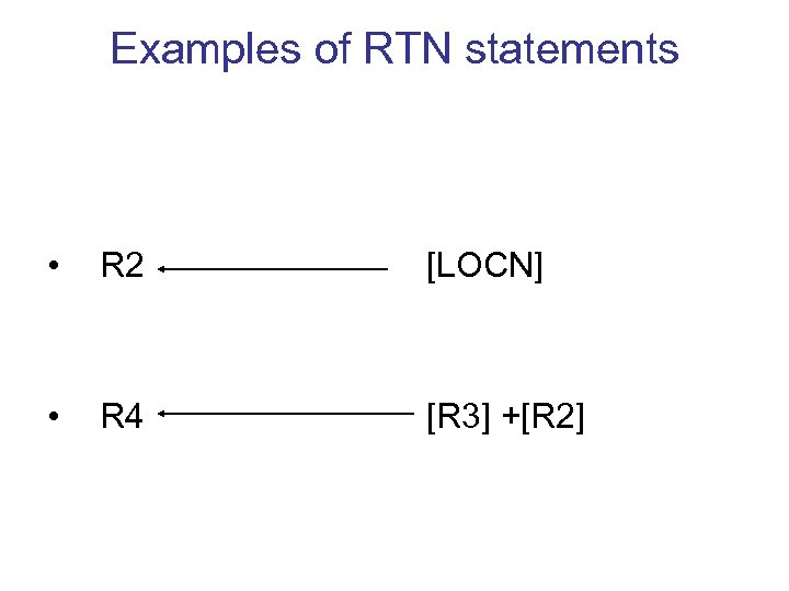 Examples of RTN statements • R 2 [LOCN] • R 4 [R 3] +[R