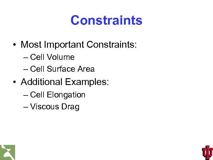 Constraints • Most Important Constraints: – Cell Volume – Cell Surface Area • Additional