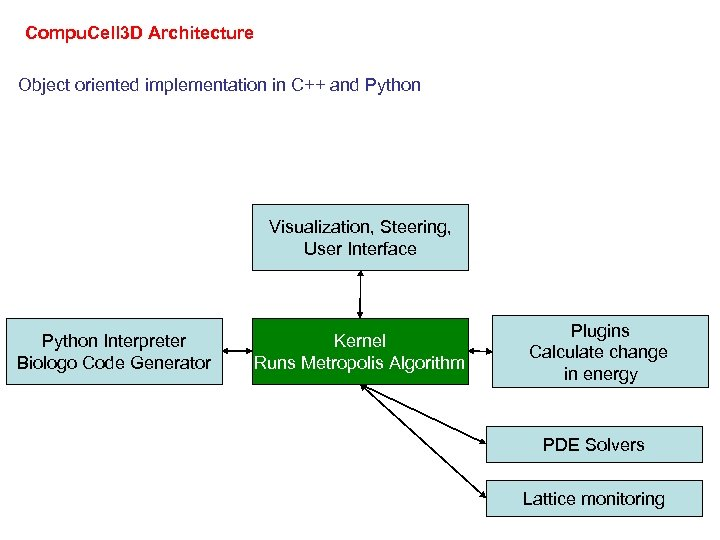 Compu. Cell 3 D Architecture Object oriented implementation in C++ and Python Visualization, Steering,