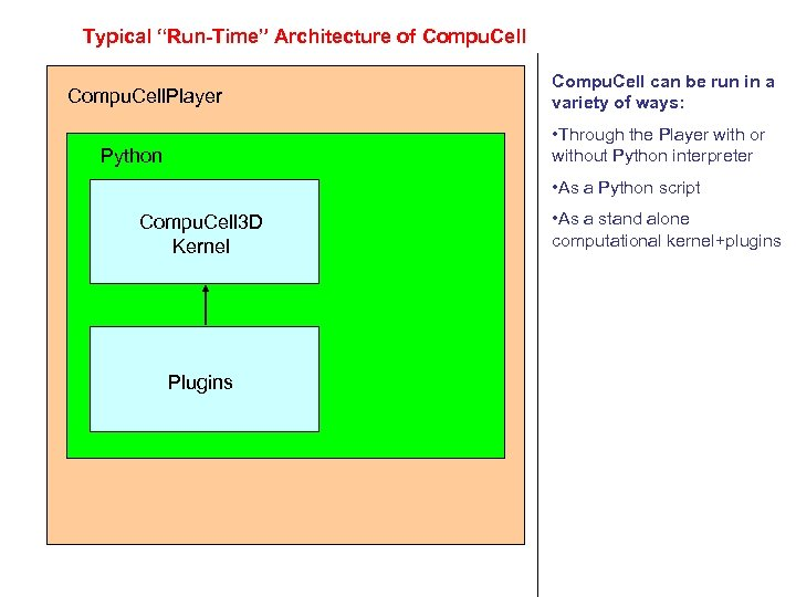 "Typical ""Run-Time"" Architecture of Compu. Cell. Player Compu. Cell can be run in a"