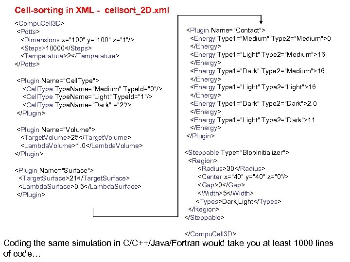Cell-sorting in XML - cellsort_2 D. xml <Compu. Cell 3 D> <Potts> <Dimensions x=