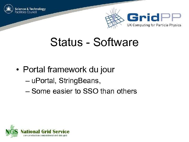Status - Software • Portal framework du jour – u. Portal, String. Beans, –