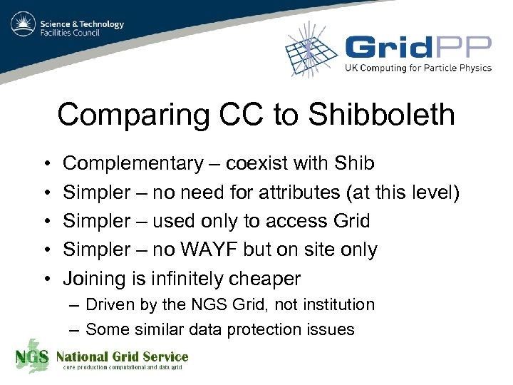 Comparing CC to Shibboleth • • • Complementary – coexist with Shib Simpler –
