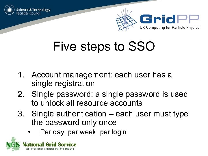 Five steps to SSO 1. Account management: each user has a single registration 2.