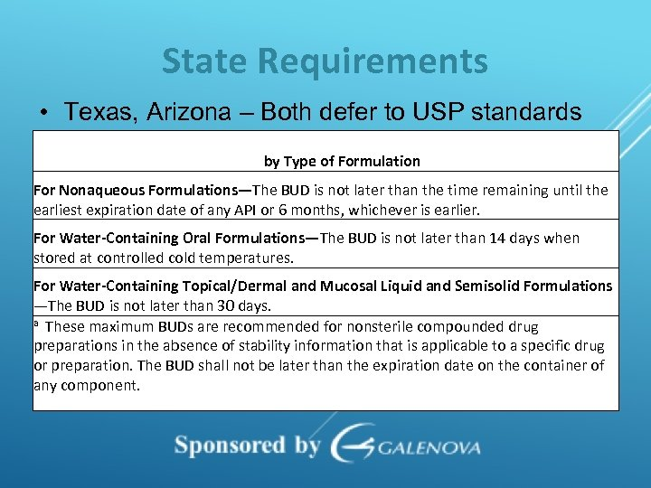 State Requirements • Texas, Arizona – Both defer to USP standards BUD by Type
