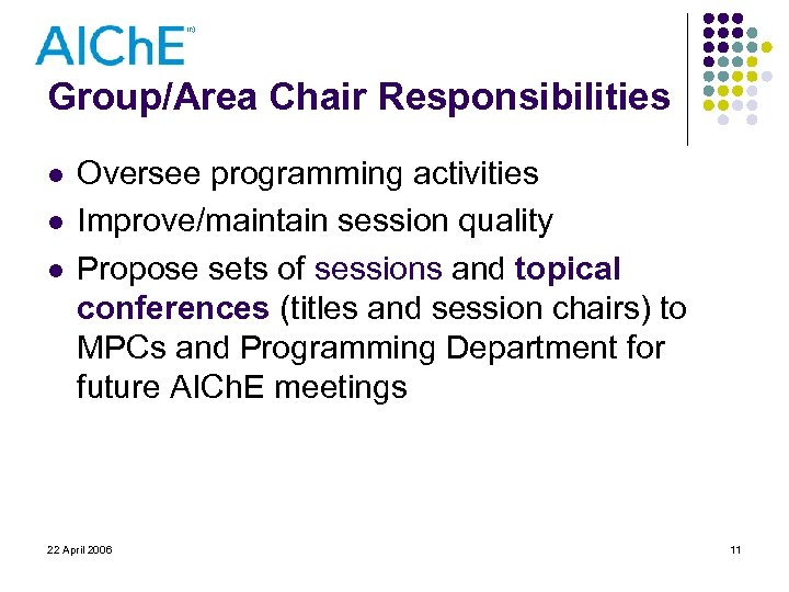 Group/Area Chair Responsibilities l l l Oversee programming activities Improve/maintain session quality Propose sets