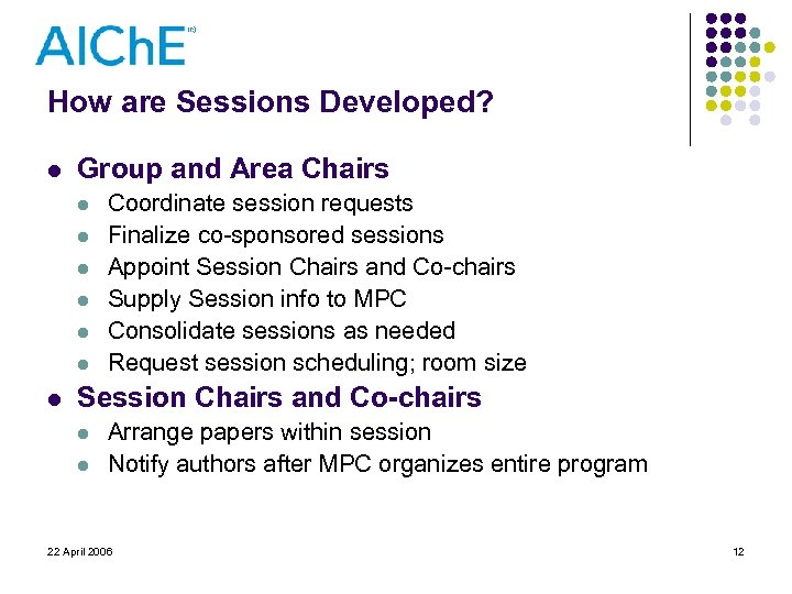 How are Sessions Developed? l Group and Area Chairs l l l l Coordinate