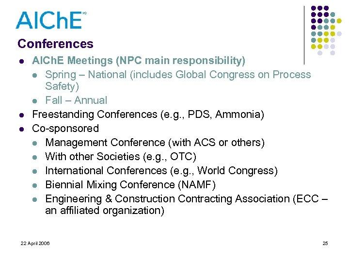 Conferences l l l AICh. E Meetings (NPC main responsibility) l Spring – National