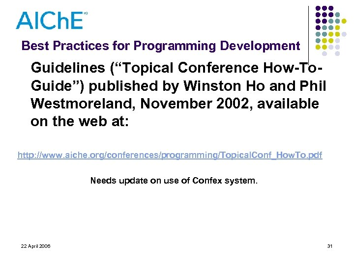 """Best Practices for Programming Development Guidelines (""""Topical Conference How-To. Guide"""") published by Winston Ho"""