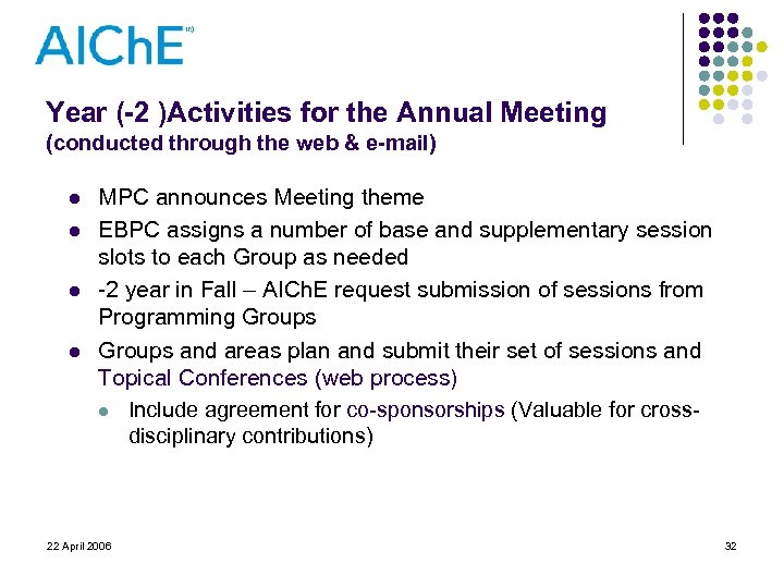 Year (-2 )Activities for the Annual Meeting (conducted through the web & e-mail) l
