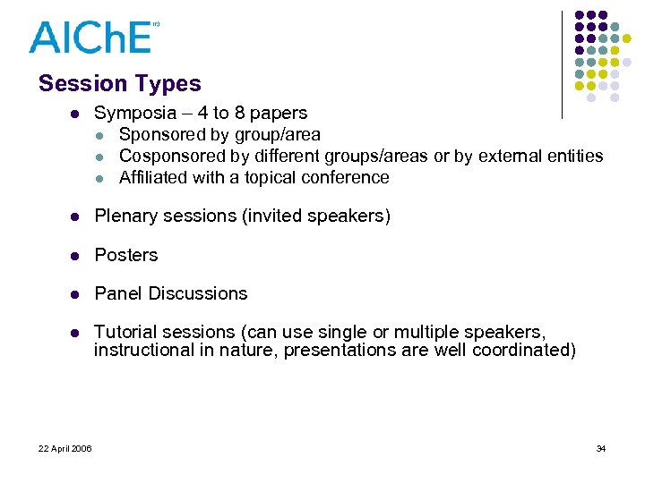 Session Types l Symposia – 4 to 8 papers l Sponsored by group/area l