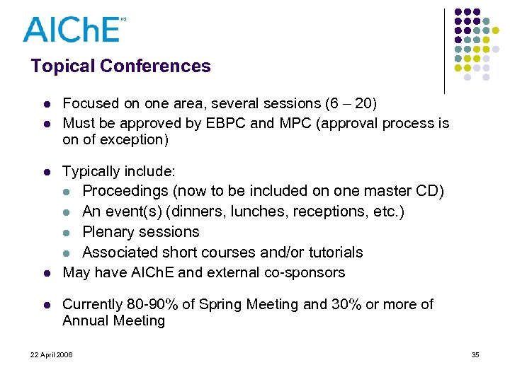 Topical Conferences l l l Focused on one area, several sessions (6 – 20)