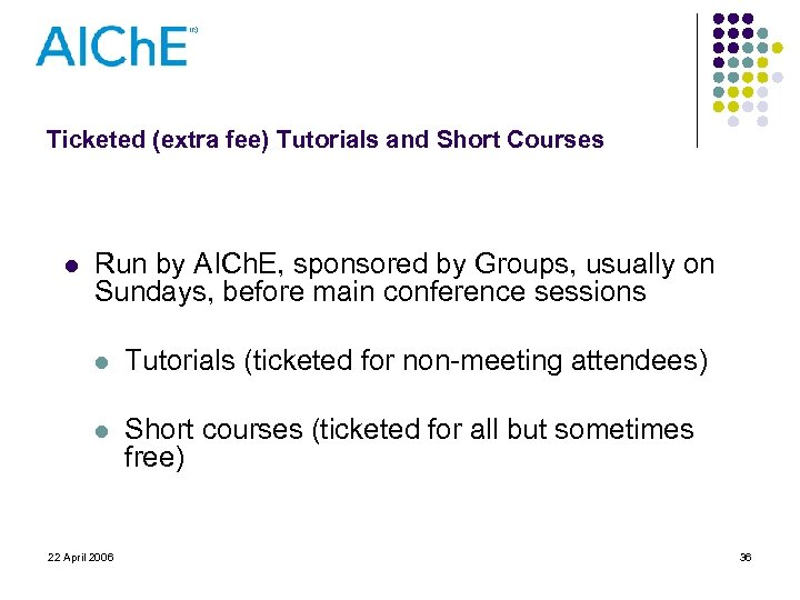 Ticketed (extra fee) Tutorials and Short Courses l Run by AICh. E, sponsored by