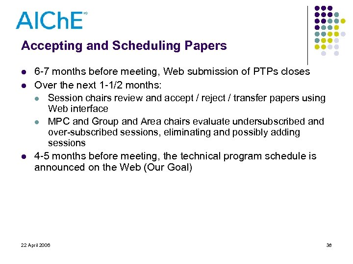 Accepting and Scheduling Papers l l l 6 -7 months before meeting, Web submission