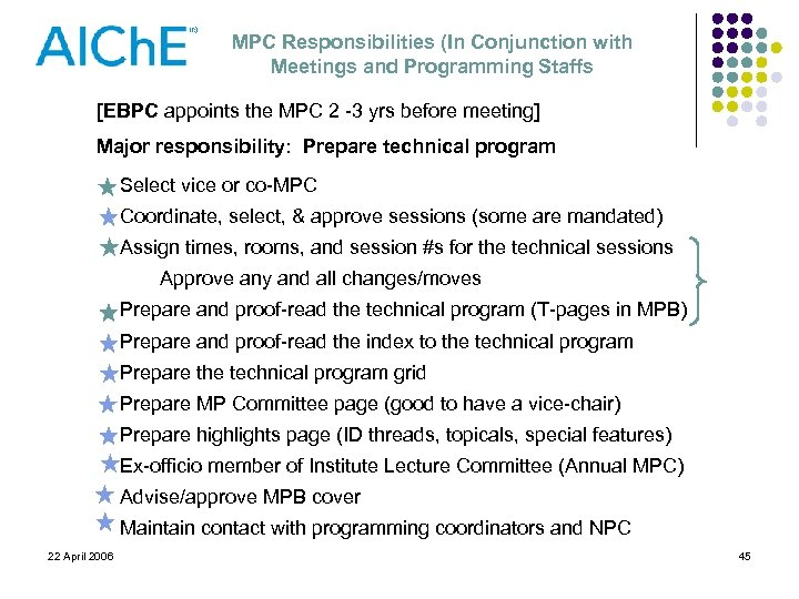 MPC Responsibilities (In Conjunction with Meetings and Programming Staffs [EBPC appoints the MPC 2