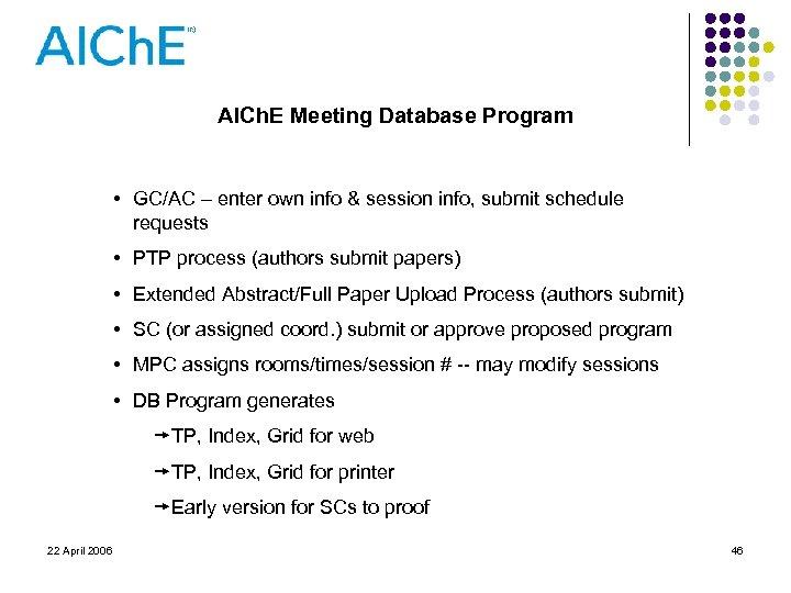 AICh. E Meeting Database Program • GC/AC – enter own info & session info,