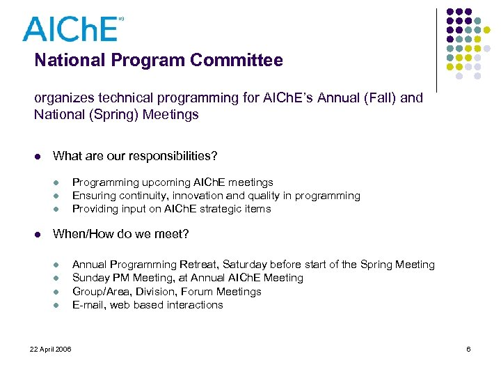 National Program Committee organizes technical programming for AICh. E's Annual (Fall) and National (Spring)