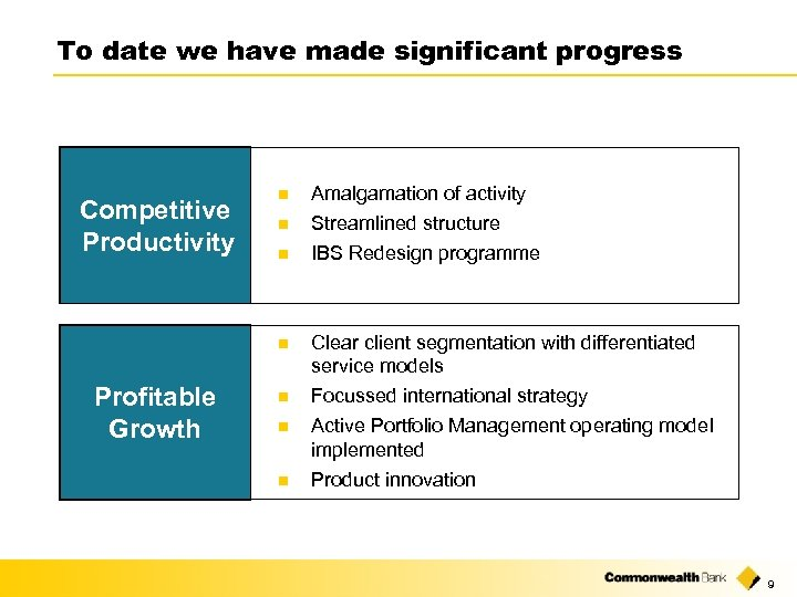 To date we have made significant progress Profitable Growth n n IBS Redesign programme