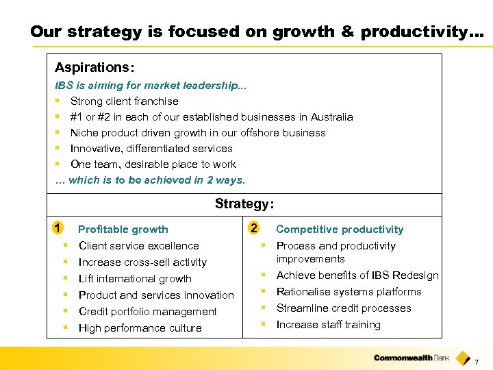 Our strategy is focused on growth & productivity… Aspirations: IBS is aiming for market