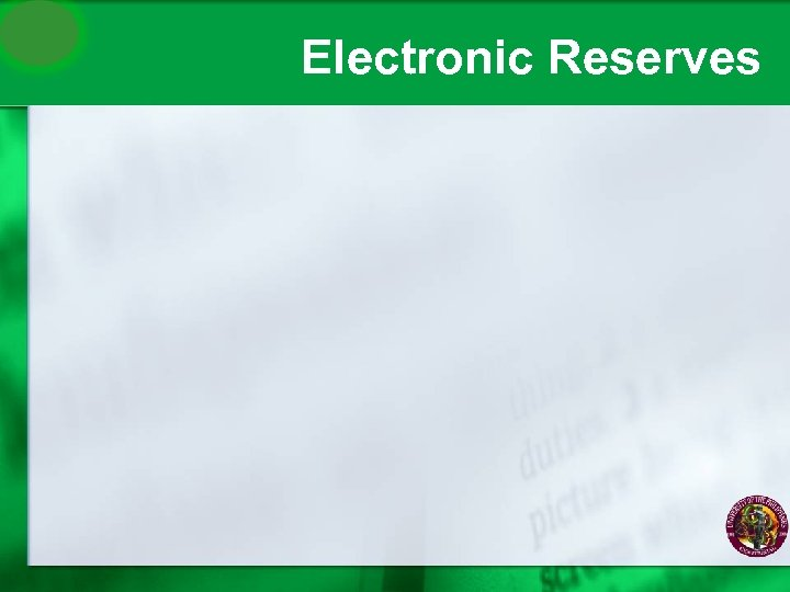 Electronic Reserves