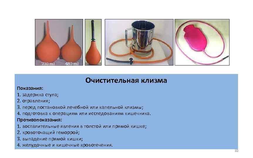 Очистительная клизма Показания: 1. задержка стула; 2. отравления; 3. перед постановкой лечебной или капельной