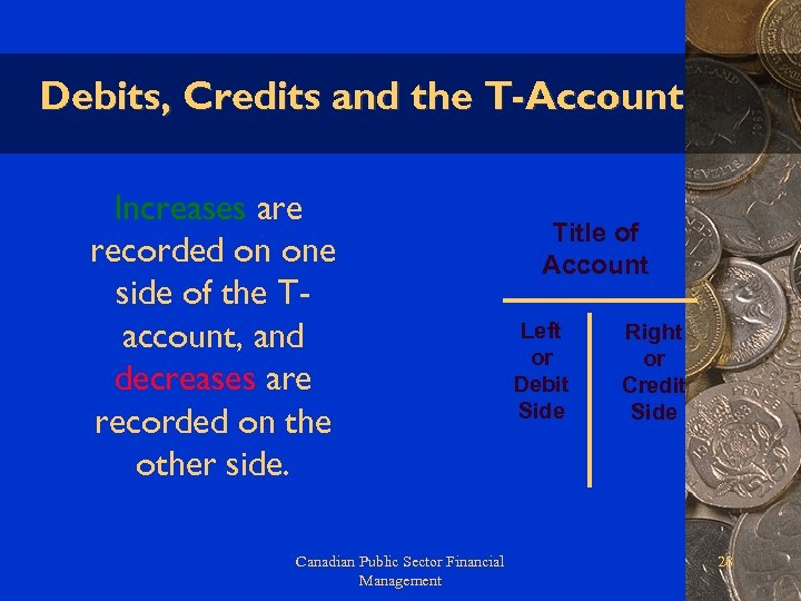 Debits, Credits and the T-Account Increases are recorded on one side of the Taccount,