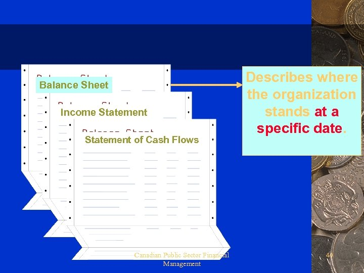 Balance Sheet Income Statement of Cash Flows Canadian Public Sector Financial Management Describes where
