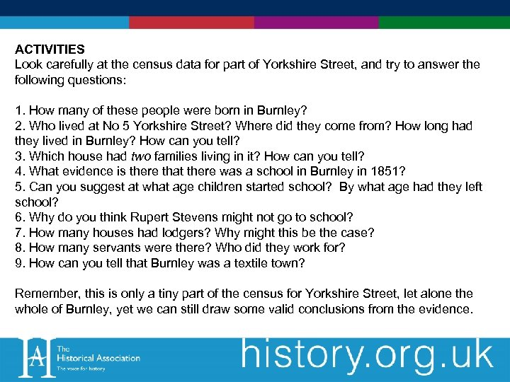 ACTIVITIES Look carefully at the census data for part of Yorkshire Street, and try