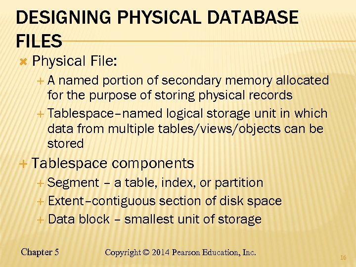 DESIGNING PHYSICAL DATABASE FILES Physical File: A named portion of secondary memory allocated for