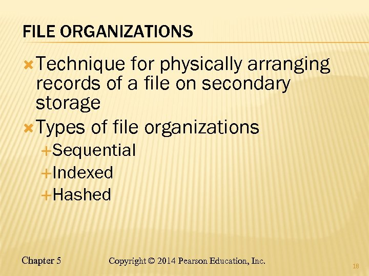 FILE ORGANIZATIONS Technique for physically arranging records of a file on secondary storage Types