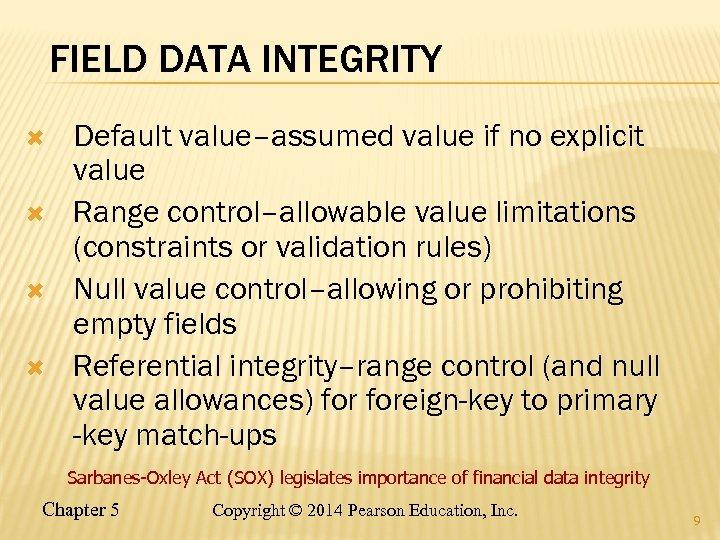 FIELD DATA INTEGRITY Default value–assumed value if no explicit value Range control–allowable value limitations