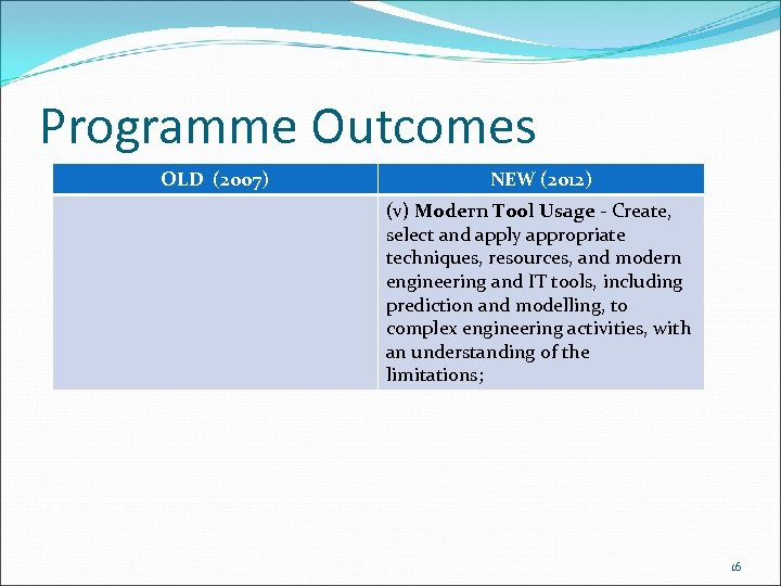 Programme Outcomes OLD (2007) NEW (2012) (v) Modern Tool Usage ‐ Create, select and