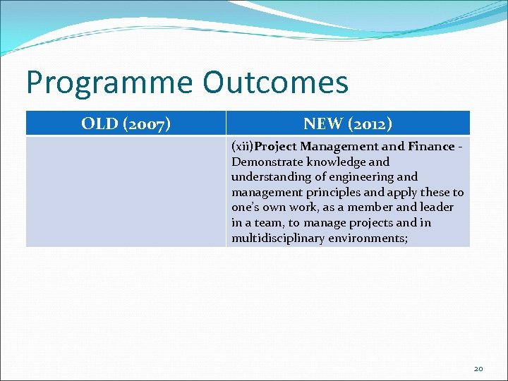 Programme Outcomes OLD (2007) NEW (2012) (xii)Project Management and Finance Demonstrate knowledge and understanding