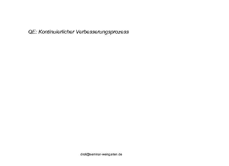 QE: Kontinuierlicher Verbesserungsprozess droll@seminar-weingarten. de