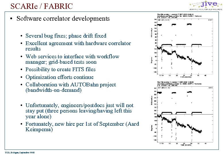 SCARIe / FABRIC • Software correlator developments • Several bug fixes; phase drift fixed
