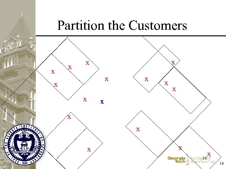 Partition the Customers x x x x 16