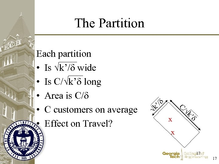 The Partition '/ C/ k Each partition • Is k'/ wide • Is C/
