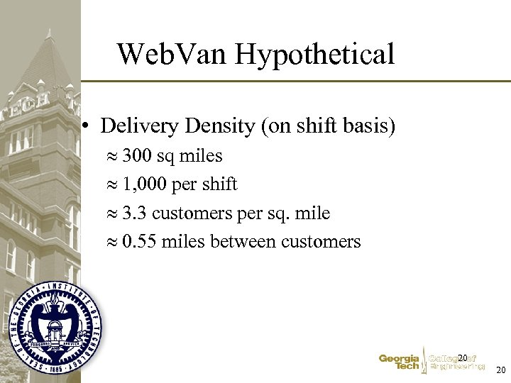 Web. Van Hypothetical • Delivery Density (on shift basis) 300 sq miles 1, 000