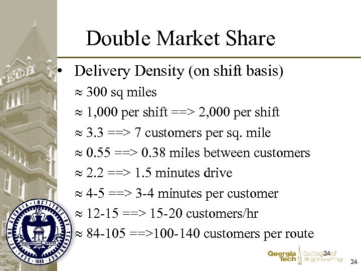 Double Market Share • Delivery Density (on shift basis) 300 sq miles 1, 000