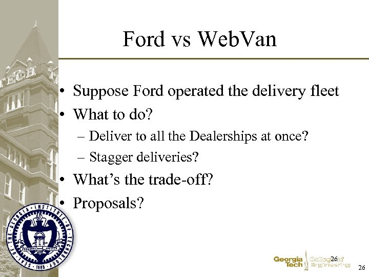 Ford vs Web. Van • Suppose Ford operated the delivery fleet • What to