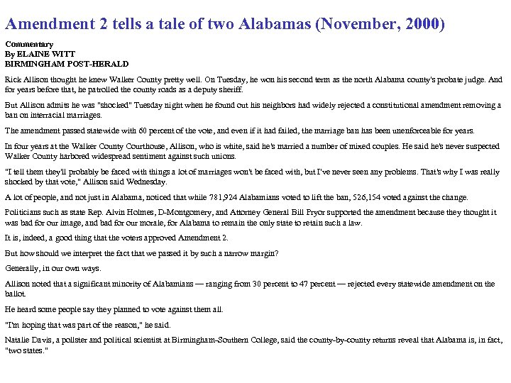 Amendment 2 tells a tale of two Alabamas (November, 2000) Commentary By ELAINE WITT