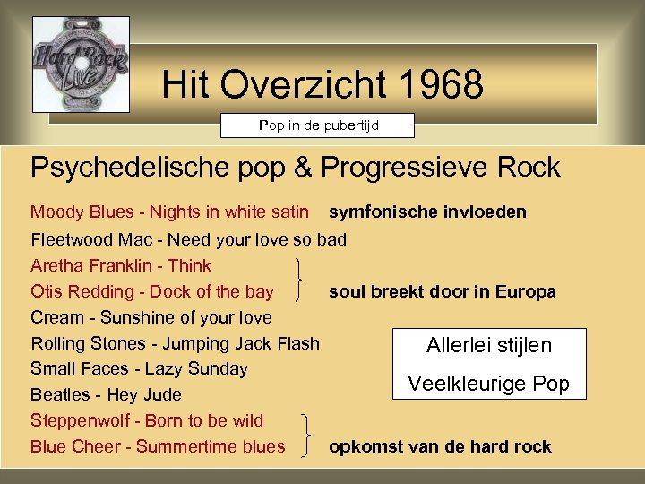 Hit Overzicht 1968 Pop in de pubertijd Psychedelische pop & Progressieve Rock Moody Blues