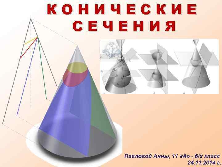 КОНИЧЕСКИЕ СЕЧЕНИЯ Павловой Анны, 11 «А» - б/х класс 24. 11. 2014 г.