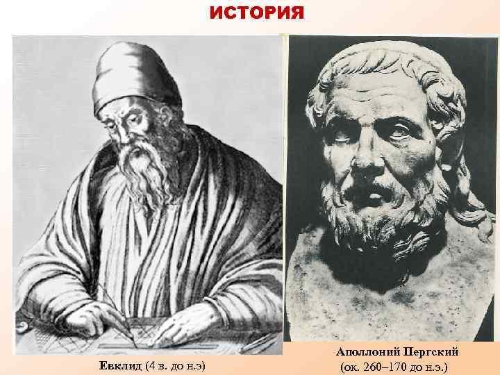 ИСТОРИЯ Евклид (4 в. до н. э) Аполлоний Пергский (ок. 260– 170 до н.