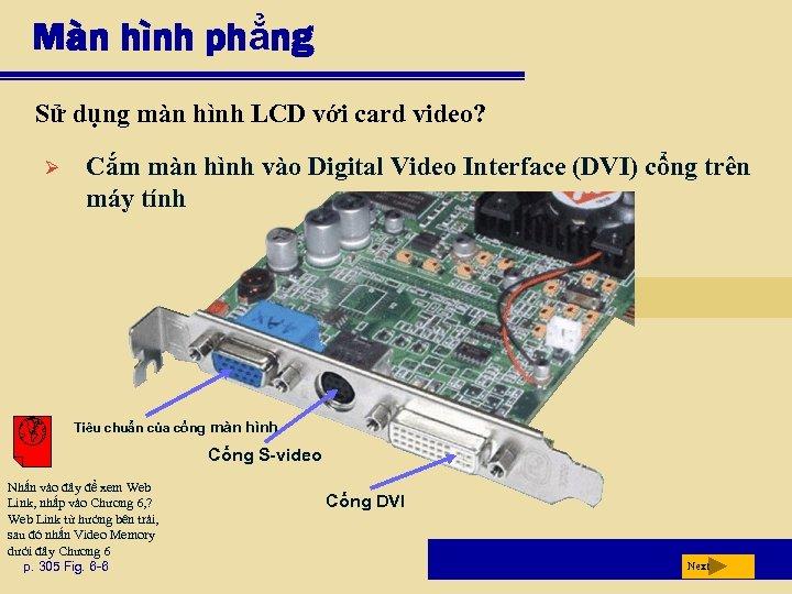 Màn hình phẳng Sử dụng màn hình LCD với card video? Ø Cắm màn