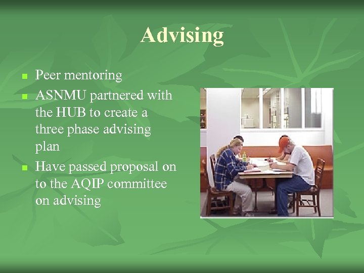 Advising n n n Peer mentoring ASNMU partnered with the HUB to create a
